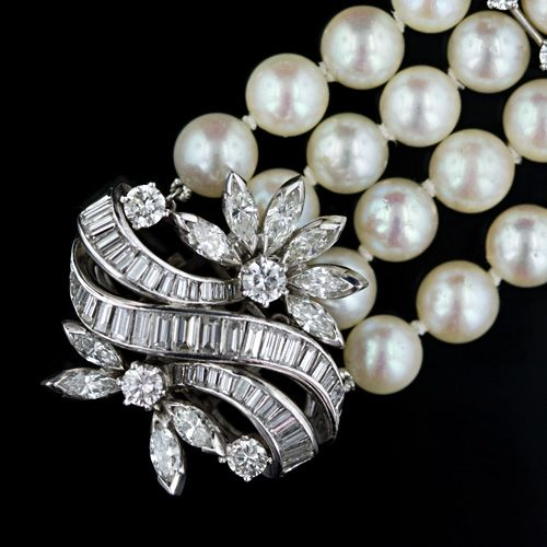 1950's Diamond, Cultured Pearl & Platinum Bracelet