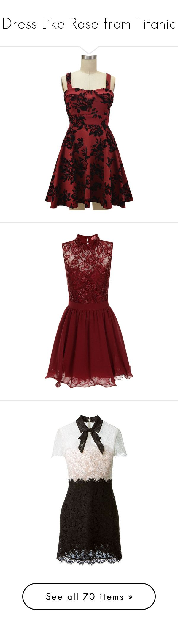 """Dress Like Rose from Titanic"" by sophialovescoffee ❤ liked on Polyvore featuring dresses, red, vestidos, red dress, red strap dress, garnet dress, red sweetheart dress, red sweetheart cocktail dress, bow dress and short dresses"