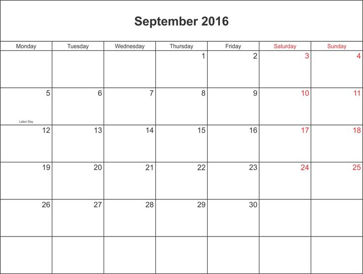 September 2016 Calendar Labor Day