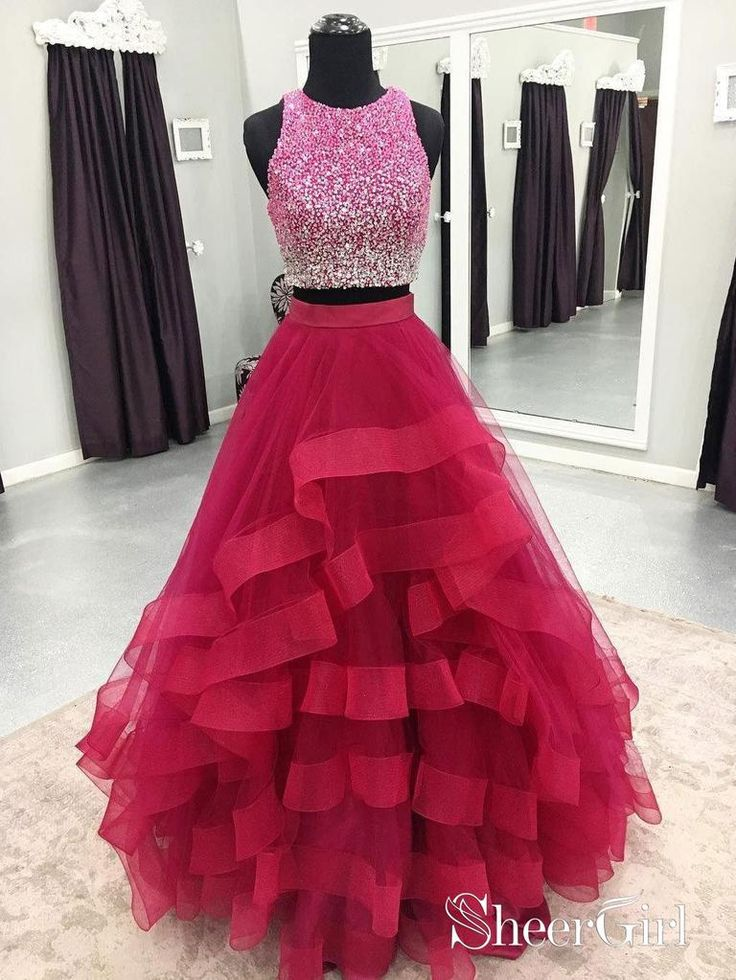 Two Piece Organza Prom Dresses Cheap Sequins Formal Quinceanera Dresses 2018 APD... 2