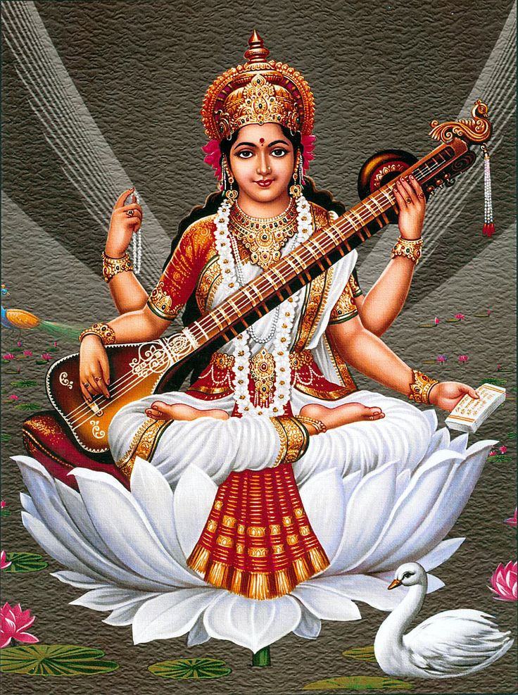 Goddess Saraswati (Reprint on Paper - Unframed)