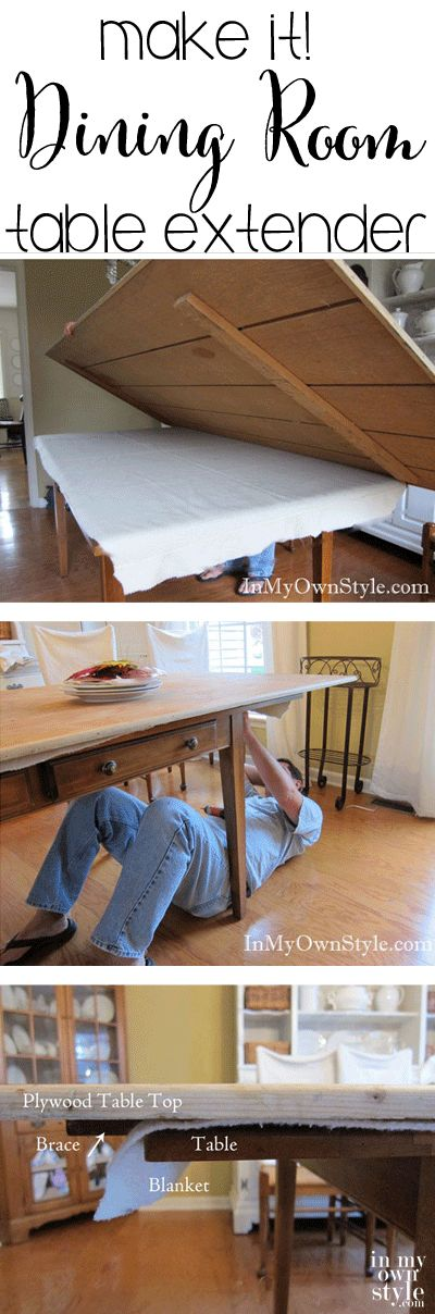Need more room around your dining room table around the holidays  Try this...enlarge a dining room table for extra seating when you entertain.  Easy to use and store when not in use.