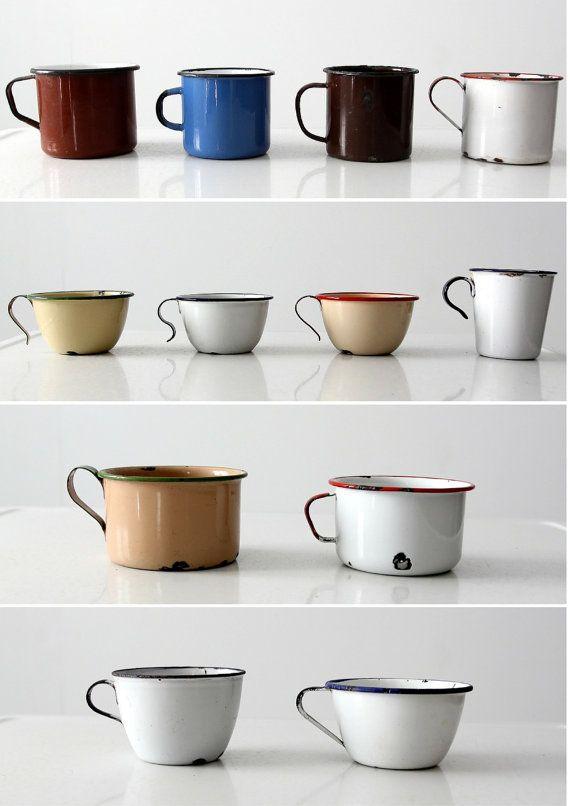 colección vintage enamelware tazas tazas de vintage por 86home