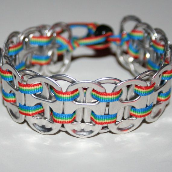 CAMP CRAFT:  Aluminum can/pop-tops = Bracelet  (start saving now!)