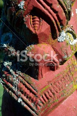 Detail of an ancient Maori Poupou Figure Royalty Free Stock Photo