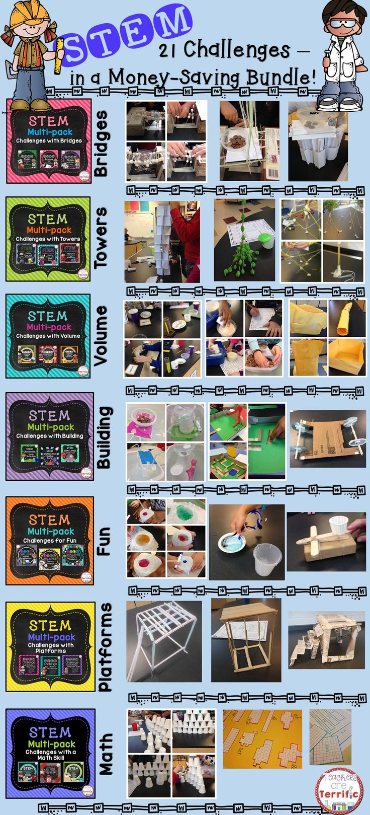 A Money-saving Mega Bundle! Includes 7 Multi-packs of STEM Challenges- a total of 21 activities! Each has step-by-step procedures, materials lists, helpful hints, and lab sheets!