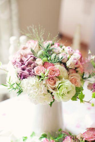 Gathered garden flowers from whimsical wedding wonderland