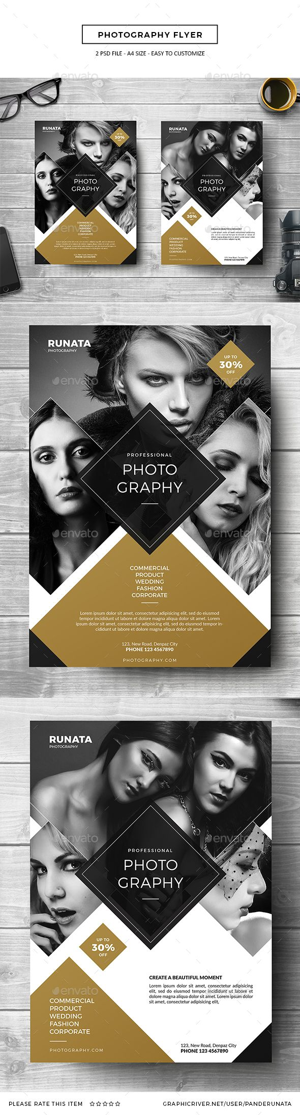 Photography Flyer - PSD Template • Only available here ➝ http://graphicriver.net/item/photography-flyer/16819795?ref=pxcr