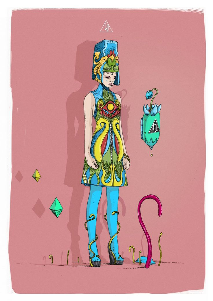 Title: Aer Aqua Terra - Author: Wyrd Daniel C. -   ink illustration on paper colored in photoshop - My art is an intersection of popsurrealism + esotericism and alchemy + fashion + design