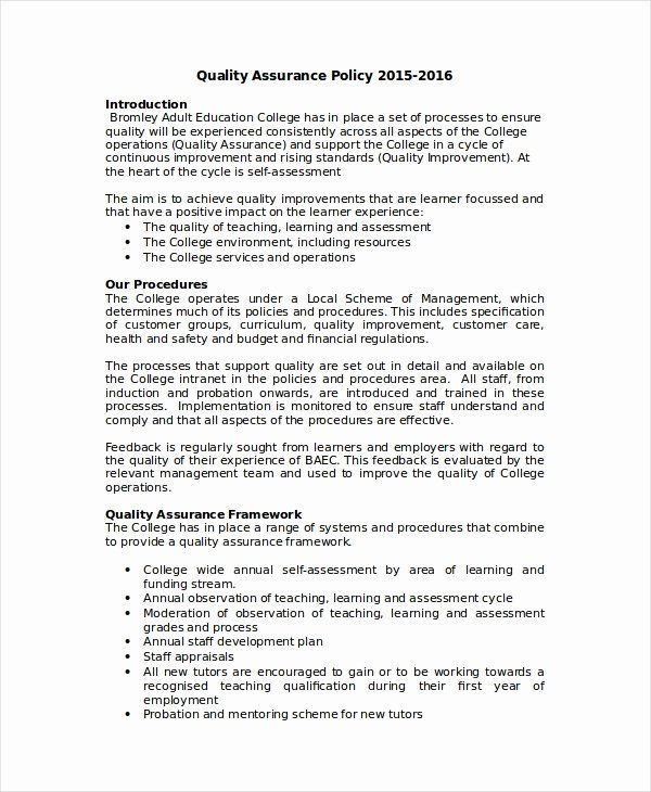 Quality Assurance Plan Template Beautiful Quality Assurance Plan Template Ms In 2021 Business Plan Template Free Business Continuity Planning Business Contingency Plan