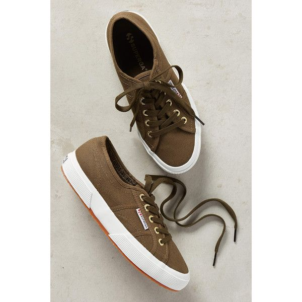 Superga Road Trip Sneakers ($68) ❤ liked on Polyvore featuring shoes, sneakers, khaki, khaki sneakers, rubber sole shoes, superga sneakers, superga and superga shoes