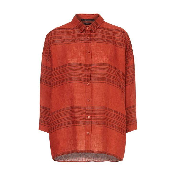 Monoprix CHEMISE EN LIN - BRIQUE Vêtements femme Big rabais robe grande taille 100 % lin 2454123