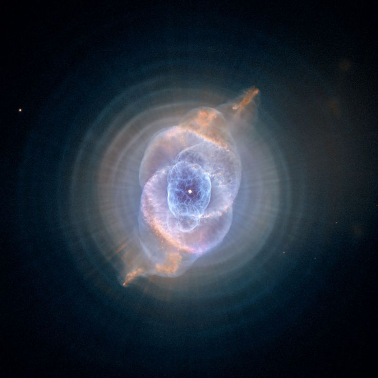 Although the Cat's Eye Nebula was the first planetary nebula ever to be discovered, it is one of the most complex planetary nebulae ever seen in space. A planetary nebula forms when Sun-like stars gently eject their outer gaseous layers to form bright nebulae with amazing twisted shapes.    Credit:    ESA, NASA, HEIC and The Hubble Heritage Team STScI/AURA)