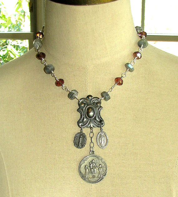 Ave Maria St Rosaire Medals Necklace by thesacredmaiden on Etsy