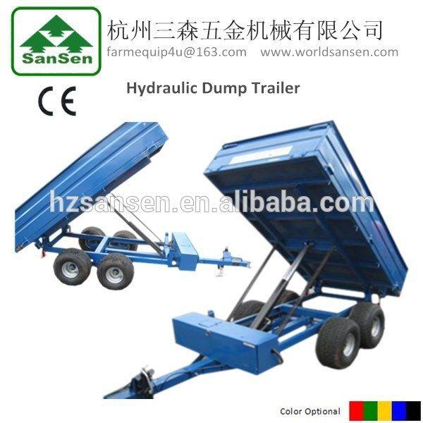 ATV dump trailer with moto ,hydraulic tractor tipper trailer with hydraulic power unit