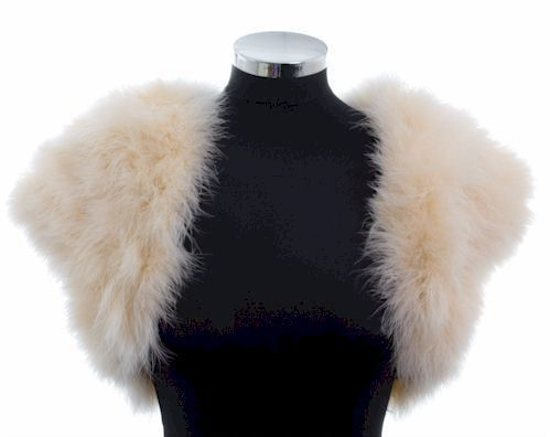 HOLLYWOOD VINTAGE GLAMOUR - Marabou Feather Shrug Wrap Stole Bolero Jacket - Cream/Champagne - Plus sizes available. $150.00, via Etsy.