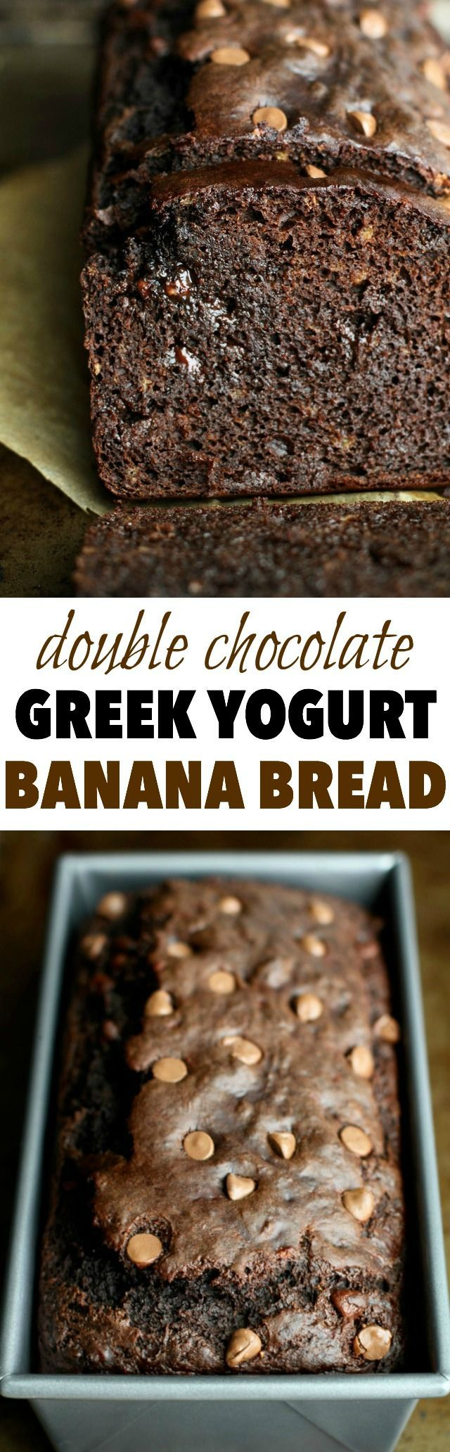 This Double Chocolate Greek Yogurt Banana Bread is LOADED with chocolate flavour, and so soft and tender that you'd never be able to tell it's made with NO butter or oil! || runningwithspoons... #chocolate #healthy
