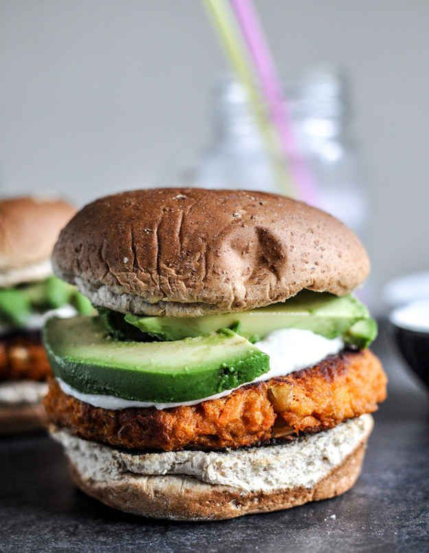 Smoky Sweet Potato Burgers with Roasted Garlic Cream Cheese and Avocado | 33 Of The Most Delicious Things You Can Do To Sweet Potatoes