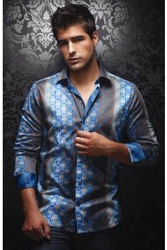 Find this AU NOIR Ambrosia blue men's shirt at www.mensdressshirts.ca