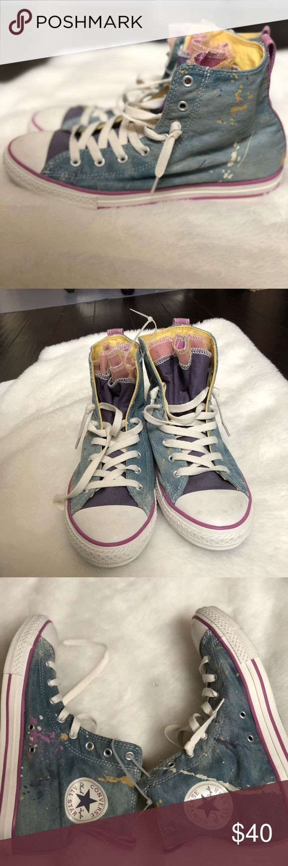 Converse denim paint splatter high top sneakers New without the original box. Denim high top with paint splatter design. Denim is meant to have a light worn in look. Tulle design tongue. Size 38.5 Converse Shoes Sneakers