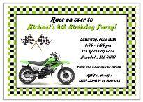 Dirt Bike Birthday Party Invitations Green