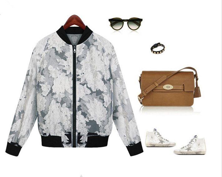 2014 Women鈥檚 stylish zipper decorated vivid print Popular Organza summer coat