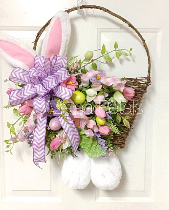 Two Silly Monkeys Easter Basket Wreath: Grapevine Easter Basket With Bunny Ears And Feet By