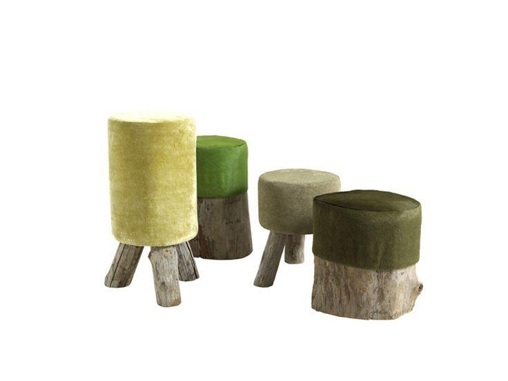 MOUSSE Upholstered Wooden Pouf By Bastien Taillard, Frank Lefebvre