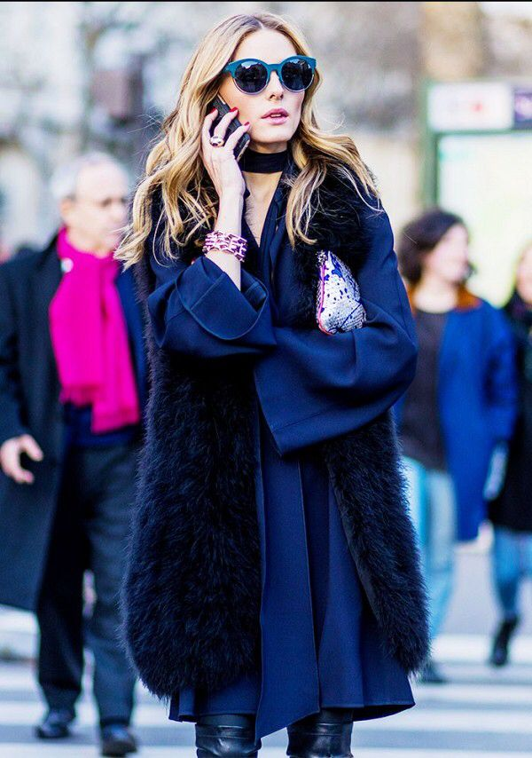 Navy blue dress and black fur vest
