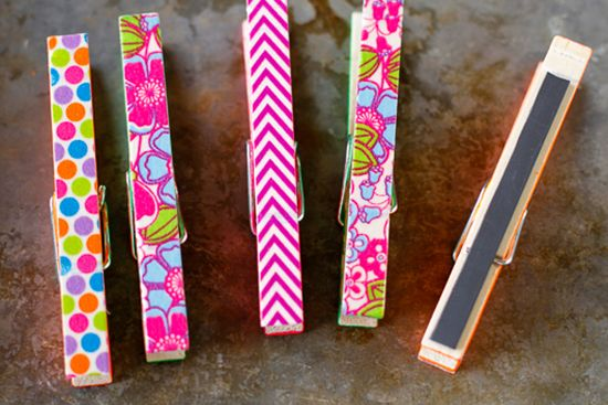 Clothespin magnet: Cover one side with washi tape and the other with a magnet strip.