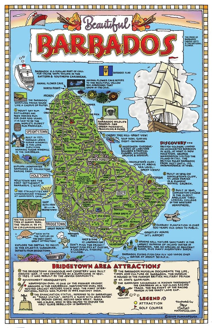Large detailed tourist map of Barbados. Barbados large detailed tourist map.