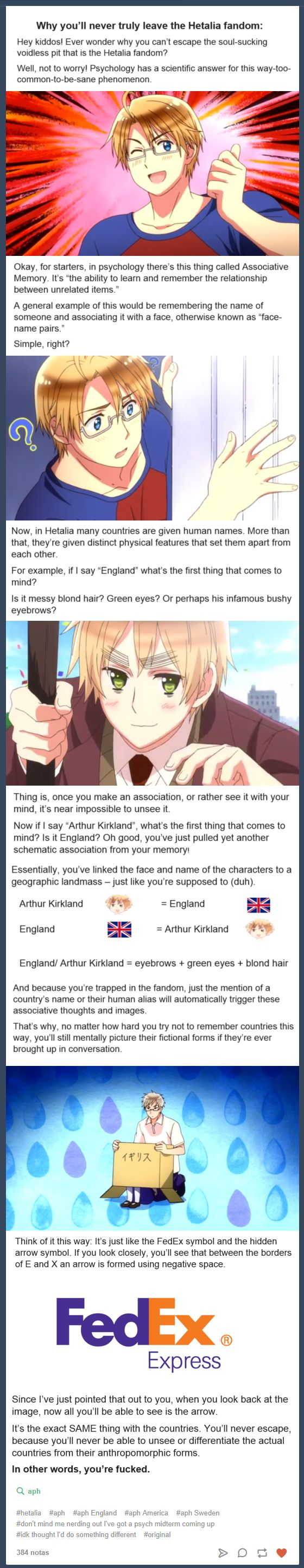 """The Real Explanation to """"Why You Can't Leave The Hetalia Fandom"""" ----yey! find on tumblr, obvious----- aph hetalia axis powers hetalia associative memory"""