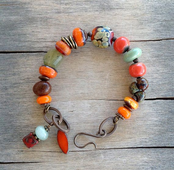 Earthy Green Orange Lampwork Bead Brass Bracelet with Ceramic Beads, Green Garnet Gemstone, Picasso Czech Glass Beads