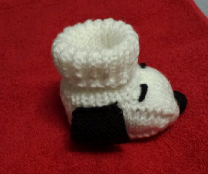 Snoopy baby booties socks white handmade Peanuts baby shower all sizes