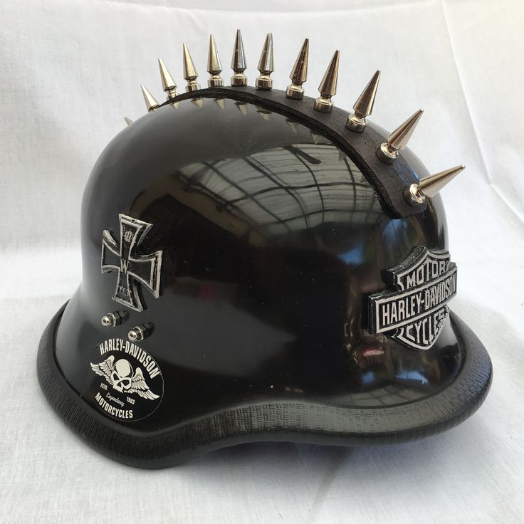 baseball cap under motorcycle helmet style punk studs leather connected create unique manufactured high grade glass fibre reinforced polyester