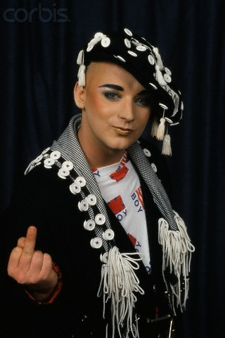 Boy George - Beret and Shawl. A pure genius is our George :-D