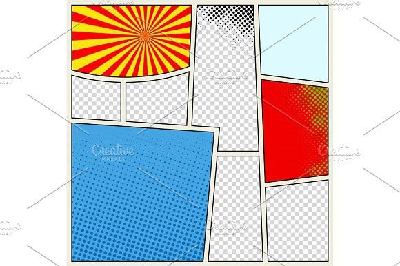 Comics Book Background In Different Colors Blank Template Background Pop Art Style Comic Book Background Comic Book Template Scrapbook Designs