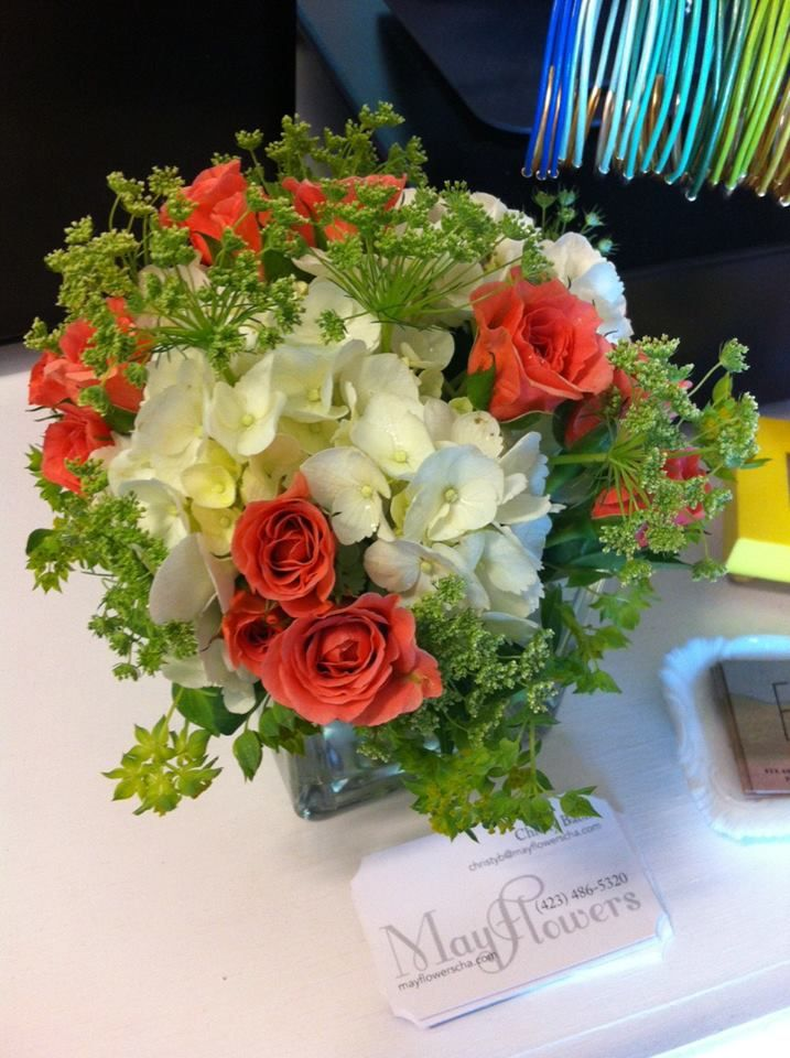 Love the white + coral color combo in this flower