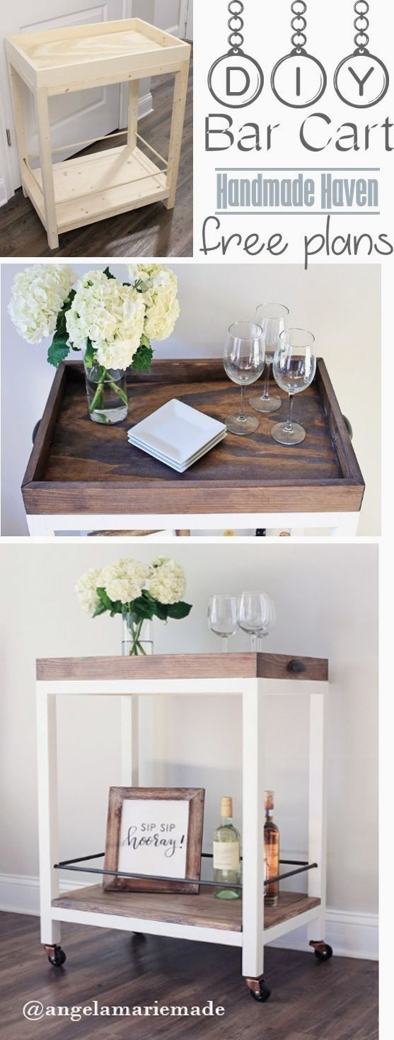 Step by Step How To on building this easy DIY Bar Cart - Free Plans - Handmade Haven - SmashingDIY  #WoodworkPlans