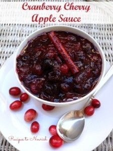 Cranberry Cherry Apple Sauce ... skip the canned cranberry sauce and make this amazing homemade version instead. #realfood #nosugar   Recipes to Nourish