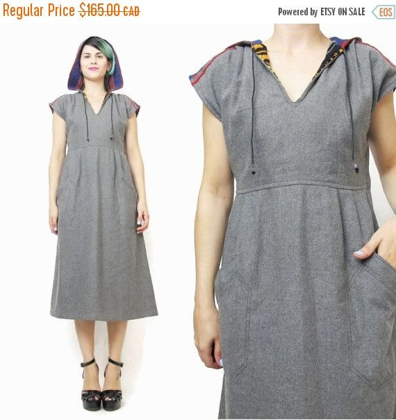 New to honeymoonmuse on Etsy: VACATION SALE 70s Joseph Magnin Dress Vintage Gray Wool Dress Hooded Dress Tribal Striped Aztec Baja Winter Dress Knee Length V Neck Designe (140.25 CAD)