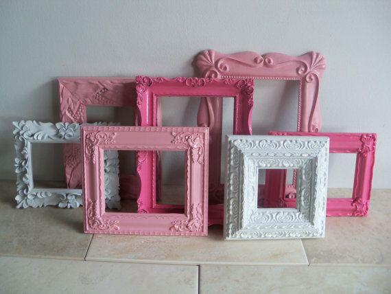 Vintage Picture Frames Collection / Nursery Decor / Pink Frames  Decor /  Girls Room Decor