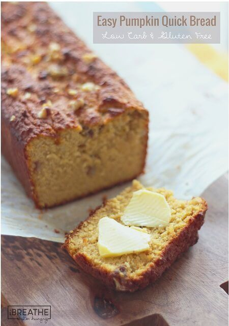 This delicious low carb pumpkin quick bread is fantastic with salted butter, ice cream, or even makes great french toast! Gluten Free, Keto, Atkins, Paleo.
