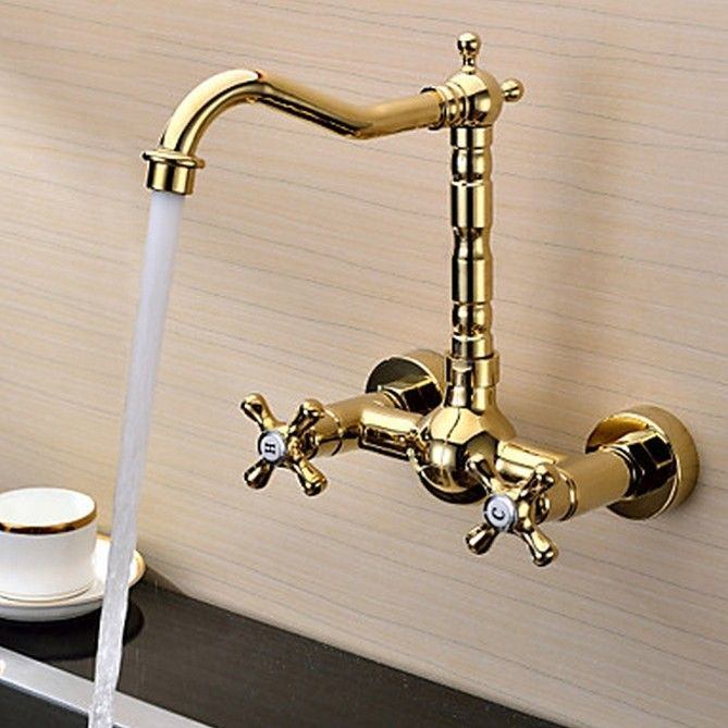 Ti-PVD Finish Solid Brass Wall Mount Centerset Kitchen Tap T0415G
