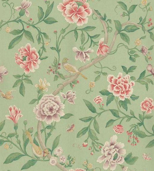 Porcelain Garden Rose/Fennel (DCAVPO101) - Sanderson Wallpapers - Inspired by early 19th C hand-painted Chinese wallpapers, with peony blossoms and birds as if painted in soft watercolours and pastels. Shown in the Rose pink and Fennel green colourway. Wide width. Please request sample for true colour match.