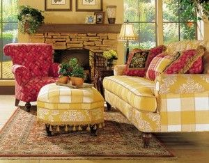 Love The Buffalo Check And Toile Fabrics On Sofa Pop Of Red Perfect French Country Pinterest Raspberry