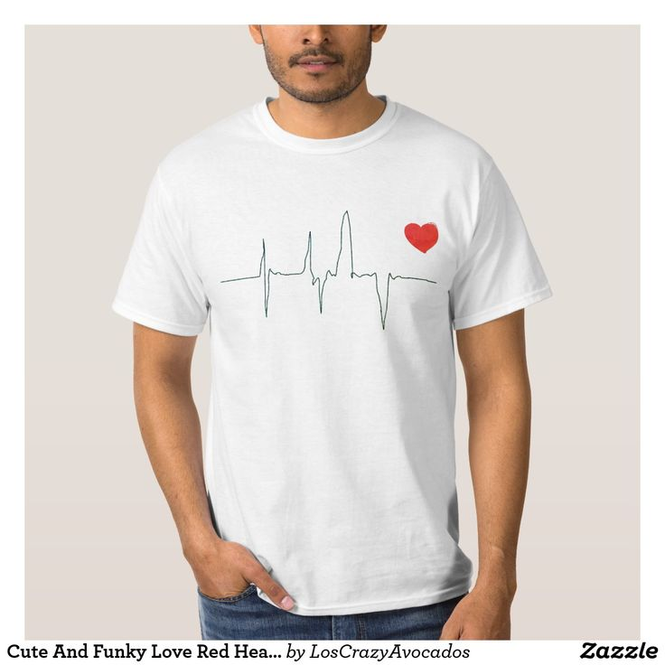 Cute And Funky Love Red Heart Rate T-Shirt