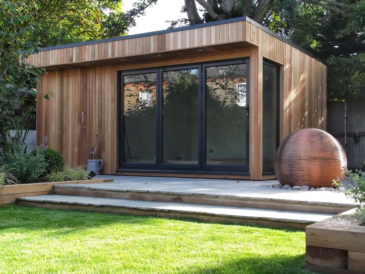 Cedar Summerhouse In Barnet With Grey Bi Fold Doors