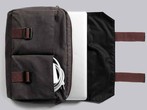 VSTR, Nomadic Pack, detachable laptop bag, Kelly Slater's new brand with Quiksilver. Made of waxed canvas, it features a stowaway mini hammock and detachable laptop/messenger, 395 USD