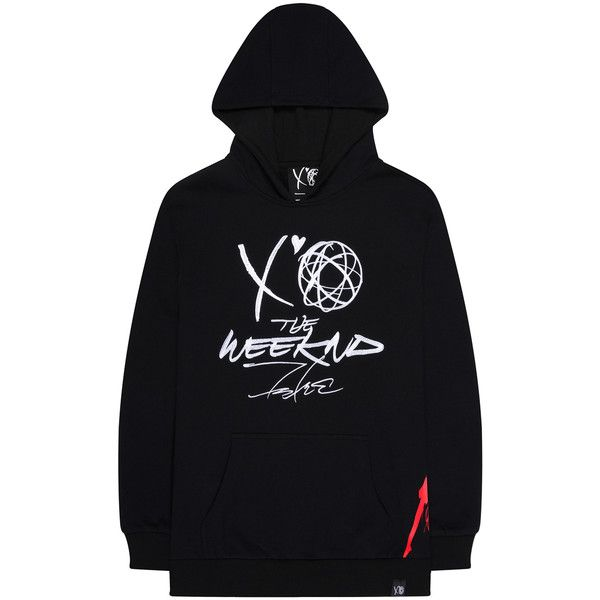 The Weeknd x Futura 2000 Xo Hoodie ($150) ❤ liked on Polyvore featuring tops, hoodies, black, cotton hoodies, sweatshirt hoodies, hooded sweatshirt, hoodie top and cotton hooded sweatshirt